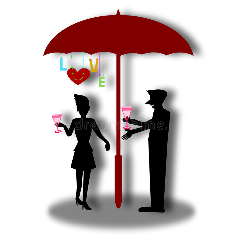 Älska kortet, konturparförälskelse med coctailexponeringsglas i paraply stock illustrationer