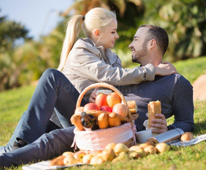 Älska lyckliga par som pratar som ha picknicken arkivfoto
