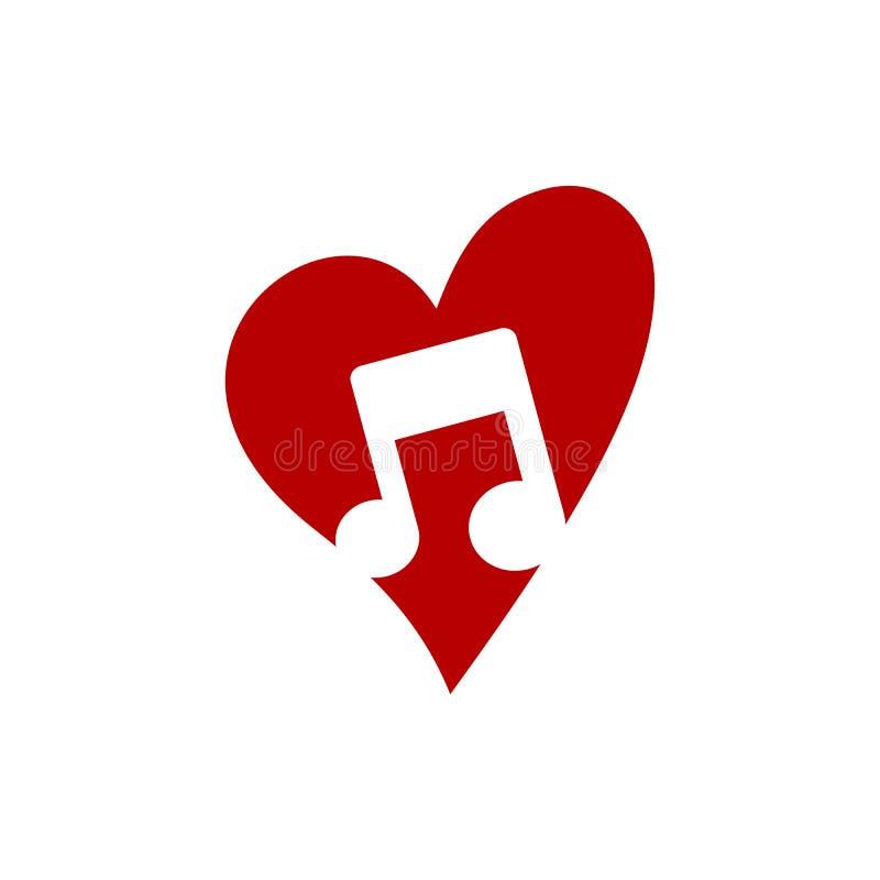 älska mallen för logoen för temat för den nyckel- anmärkningen för musiksymbolen royaltyfri illustrationer