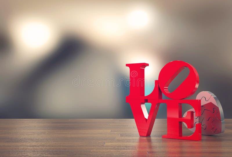 Älska meddelandet med hjärtafigursågen och gör suddig bakgrund för dag för valentin` s arkivbilder