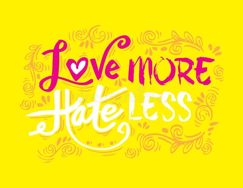 Älska mer hat mindre stock illustrationer