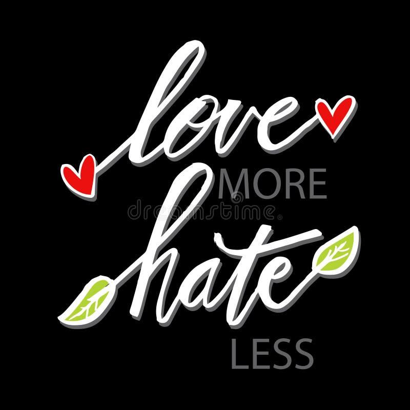 Älska mer hat mindre Hand dragit bokstäveruttryck stock illustrationer