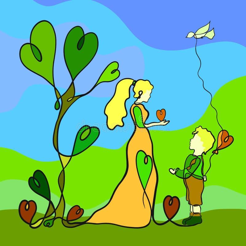 Älska modern och hennes barn, en gåva till varje andra hjärtor, CR stock illustrationer