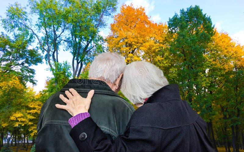 Älska mogna par på en gå i parkera i höst royaltyfri fotografi