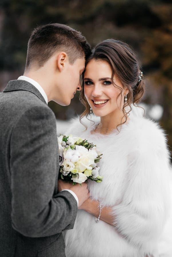 Älska och härlig brud- och brudgumställning i en omfamning i den vertikala ramen för vinterskog fotografering för bildbyråer