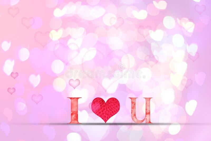 Älska ordträtextur på suddighetsbokehbakgrund för valentine stock illustrationer