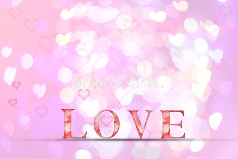 Älska ordträtextur på suddighetsbokehbakgrund för valentine royaltyfri illustrationer