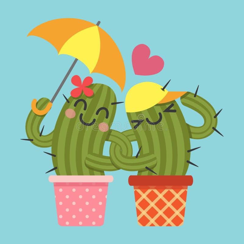 Älska par av kaktuns stock illustrationer