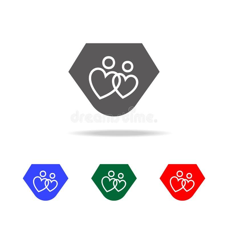 älska par i formen av hjärtasymbolen Beståndsdelar av valentin \ 's-dagen i mång- kulöra symboler Högvärdig kvalitets- ico för gr stock illustrationer