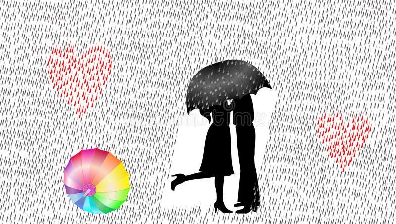 Älska par i regnet, vektorillustrationen, förälskelsebegrepp stock illustrationer