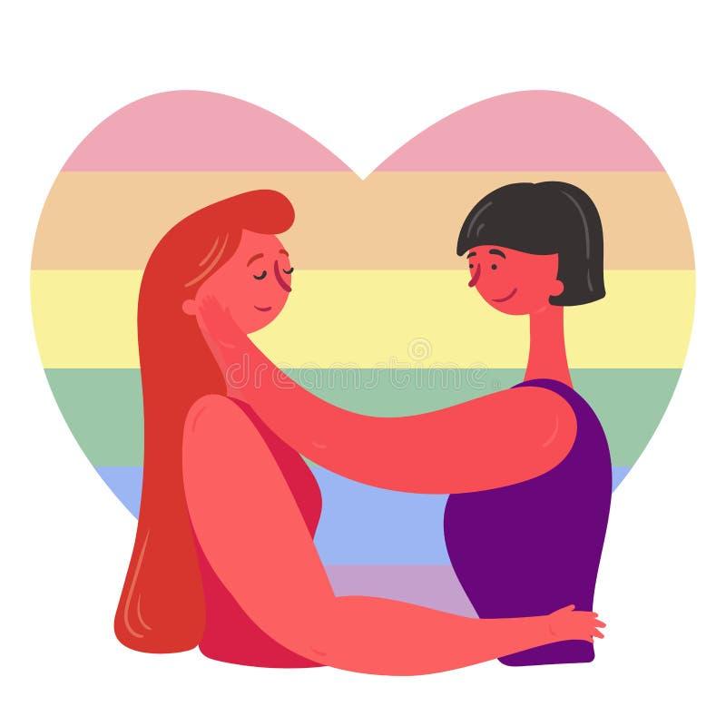 Älska par, kramar lesbiska kvinnor, LGBT-flaggabakgrund stock illustrationer