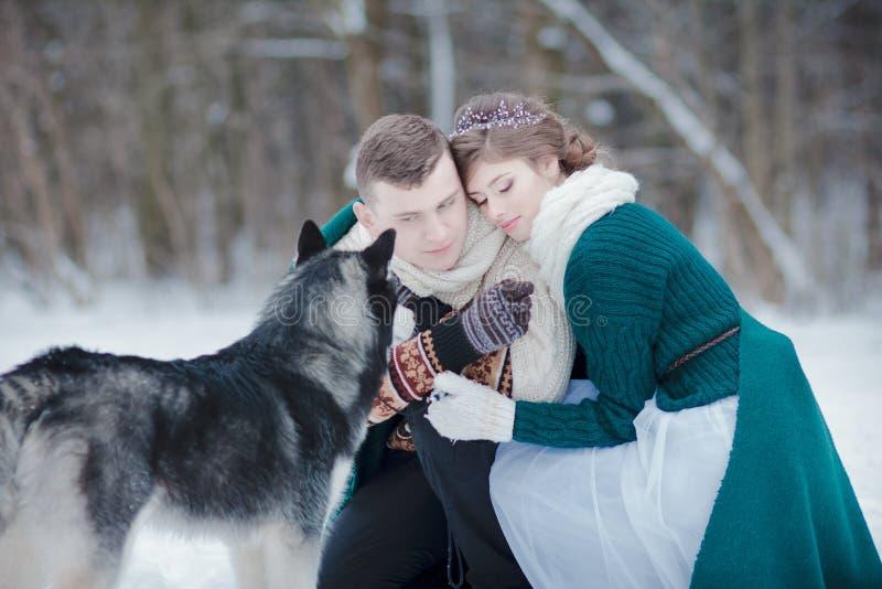 Älska par med Siberian skrovligt i snöig vinterskog royaltyfri foto