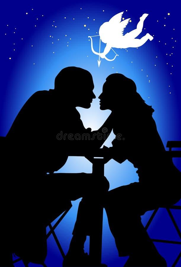 Älska par och cupid vektor illustrationer