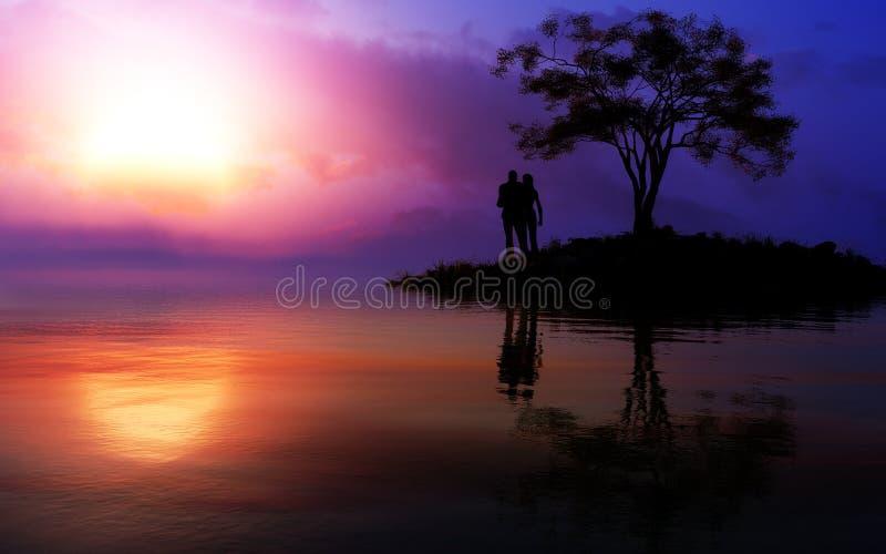 Älska par på episk fantasi värme solnedgången stock illustrationer