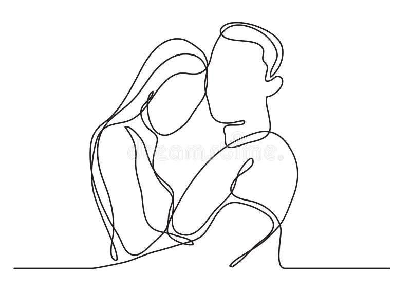 Älska par som omfamnar - fortlöpande linje teckning vektor illustrationer