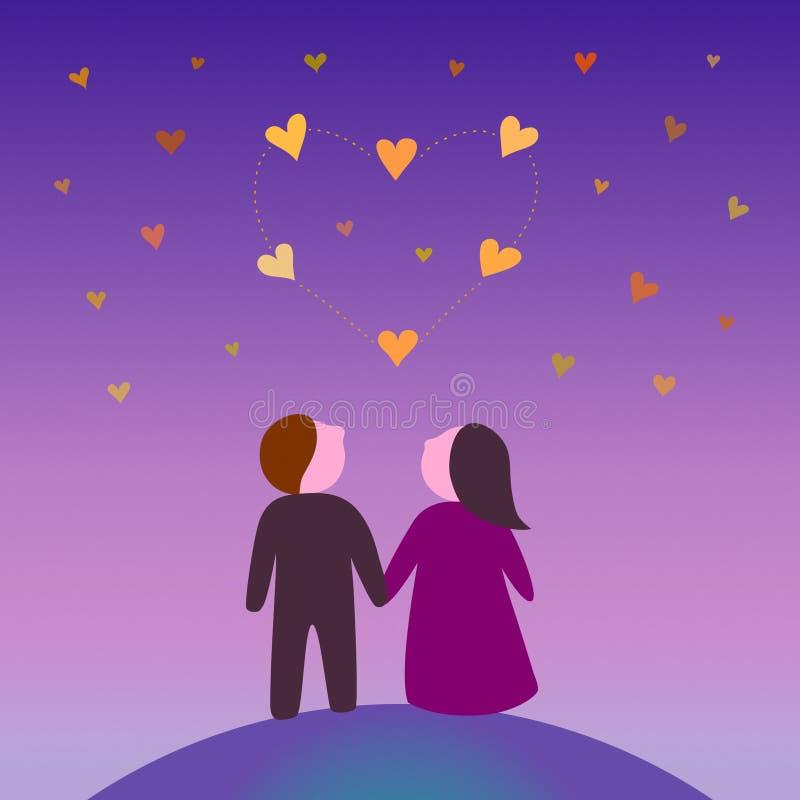 Älska par under konstellationen i formen av en hjärta vektor illustrationer