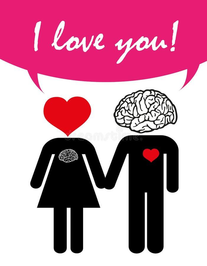 Älska par, valentin dag, förälskelse med hjärta och hjärnan royaltyfri illustrationer