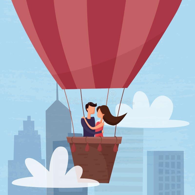 Älska parflyget på luftballongen i himlen ovanför staden royaltyfri illustrationer