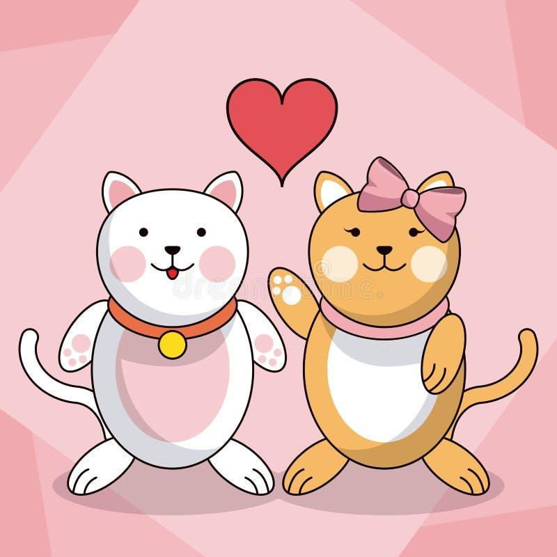 Älska parkattdjuret behandla som ett barn hjärtagarnering stock illustrationer