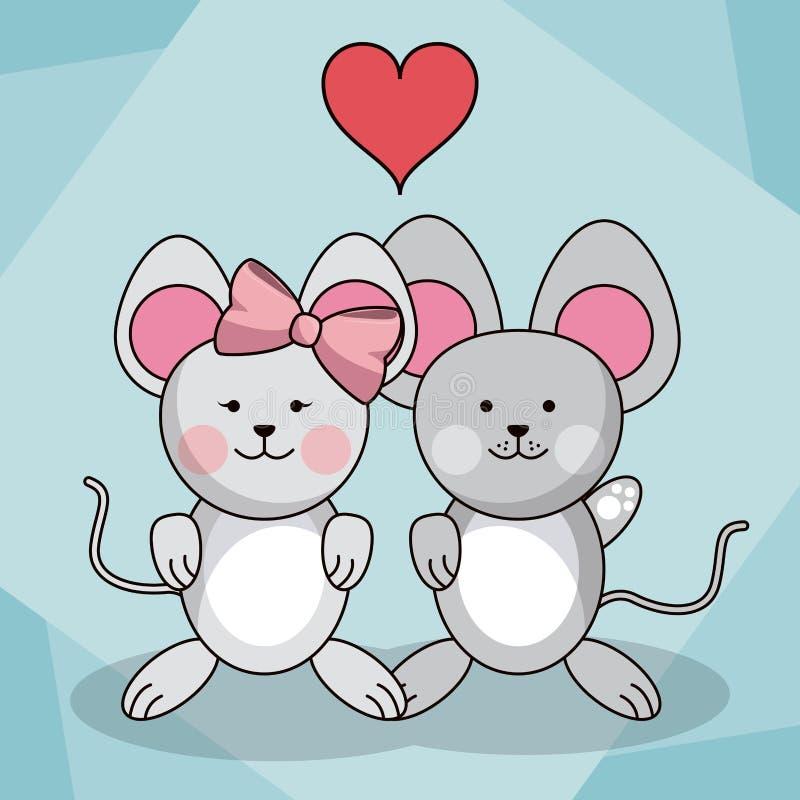 Älska parmusdjuret behandla som ett barn hjärtagarnering vektor illustrationer