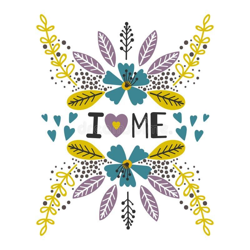 Älska sig trycket med blommor royaltyfri illustrationer