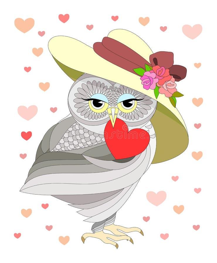 Älska ugglan vektor illustrationer