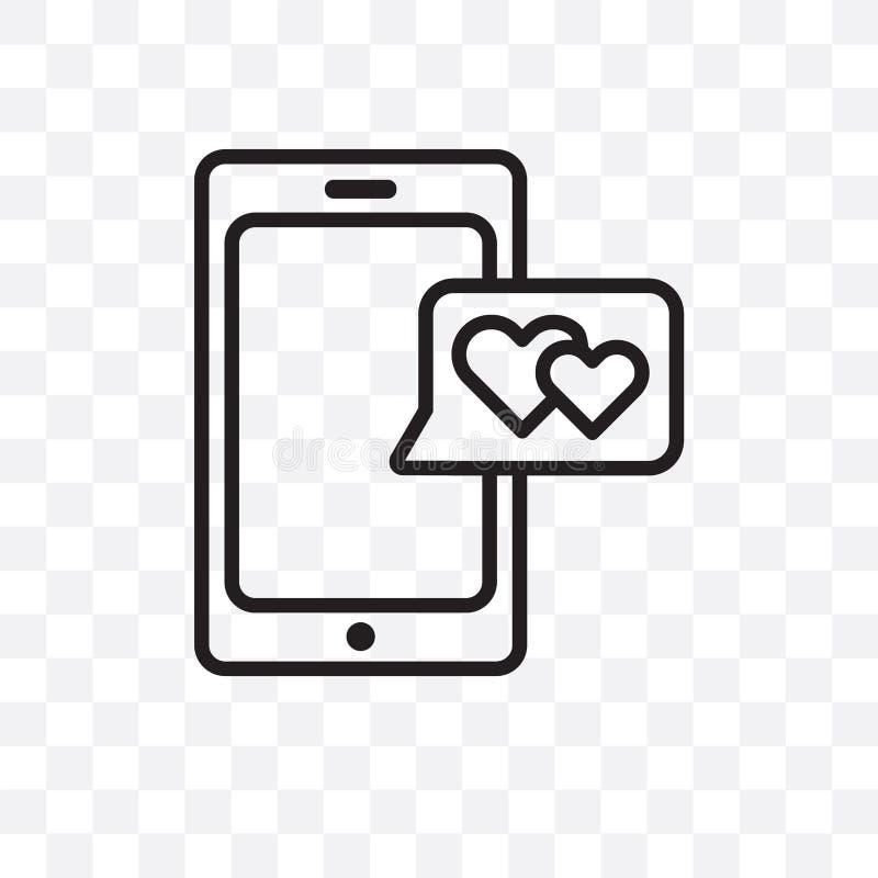 älskar den linjära symbolen för den förälskelseSmartphone vektorn som isoleras på genomskinlig bakgrund, Smartphone stordiabegrep vektor illustrationer