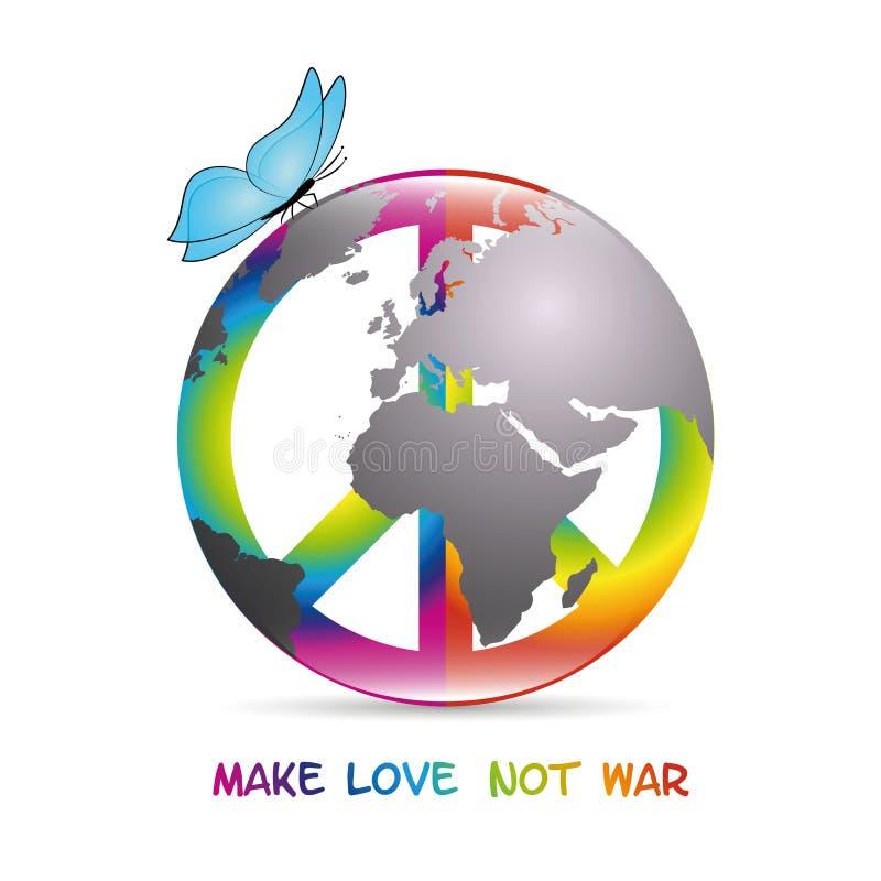 Älskar det färgrika symbolet för fred med fjärilen och jord att göra inte krig royaltyfri illustrationer