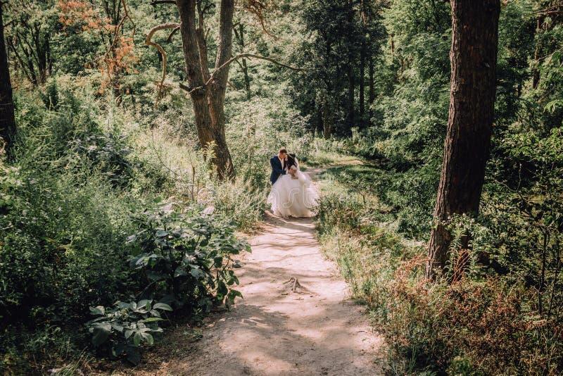 Älskar ett hug ömhet, brudskog fotografering för bildbyråer
