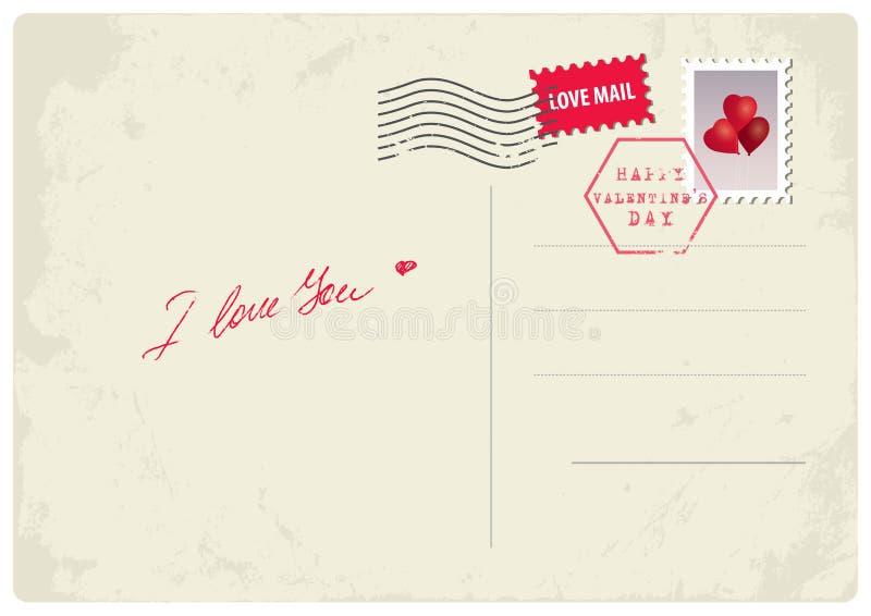 'Älskar jag dig' vykortet royaltyfri illustrationer