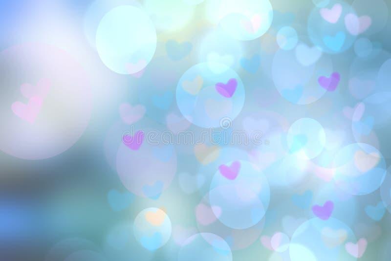 Älskar ljus blå pastellfärgad bakgrund för abstrakt festlig suddighet med rosa hjärtor bokeh för bröllopkort eller den Valentineâ stock illustrationer