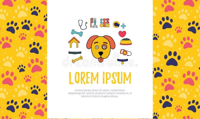 älsklings- advertizingbanermallar placera text den veterinär- kliniken och älsklings- shoppar royaltyfri illustrationer