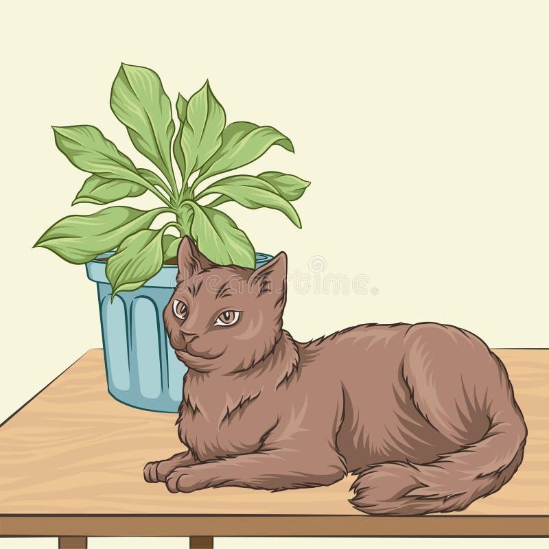 Älsklings- djur för gullig brun katt som ligger på en trätabell, för tappningstil för rum inre illustration för vektor för hem vektor illustrationer