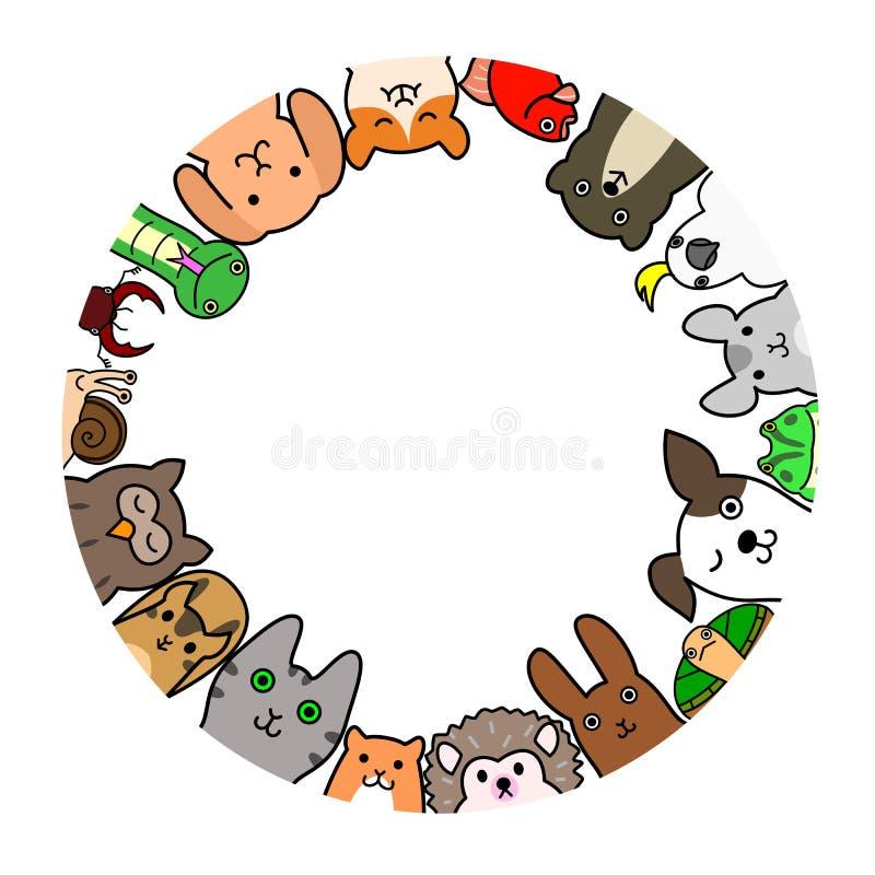 Älsklings- djur i cirkel stock illustrationer