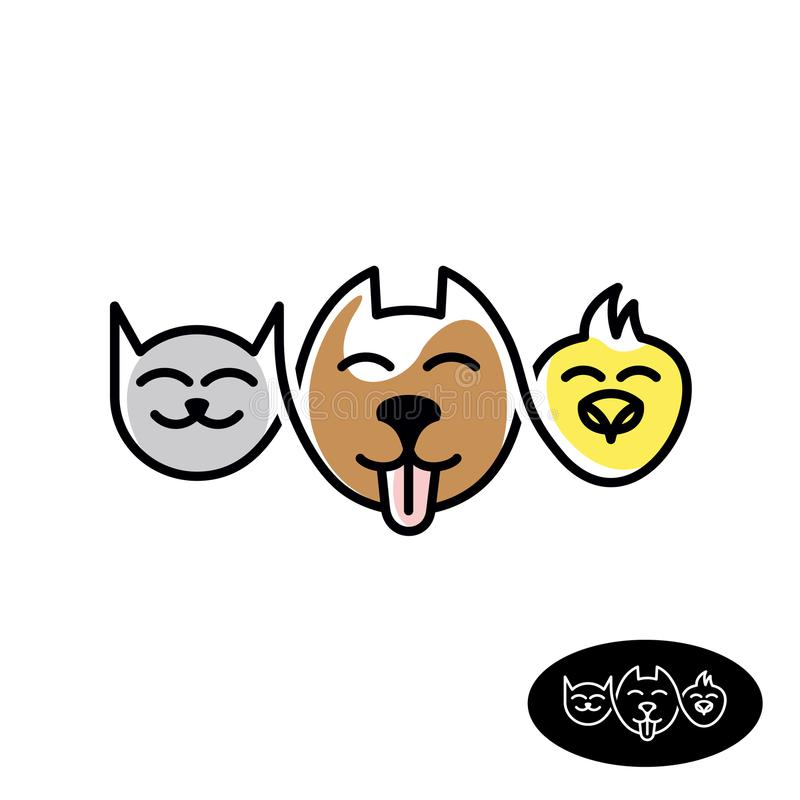 Älsklings- lagerlogo Rolig linjär stil för katt-, hund- och fågelhuvud royaltyfri illustrationer