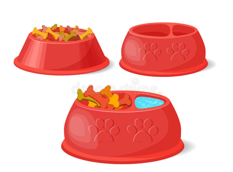 Älsklings- mat i bunke Ställ in vektorsamlingen royaltyfri illustrationer