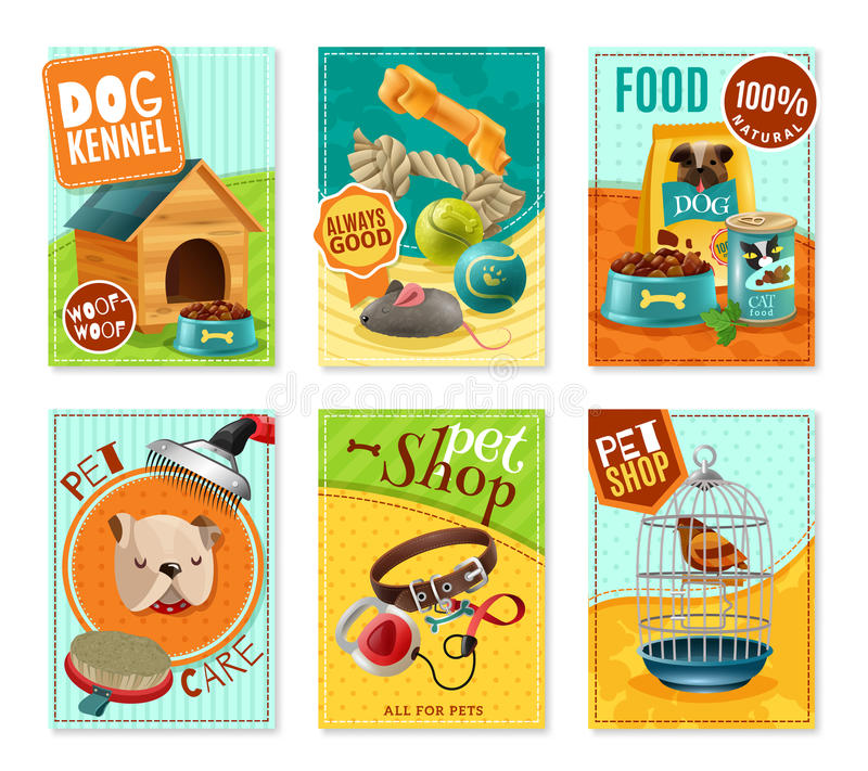 Älsklings- omsorg 6 Mini Banners Set stock illustrationer