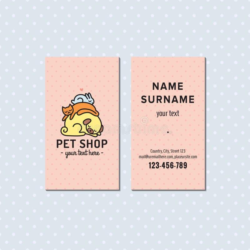 Älsklings- shoppa det rosa vektoraffärskortet Gullig mångfärgad logo med att sova hunden, katten och kaninen royaltyfri illustrationer