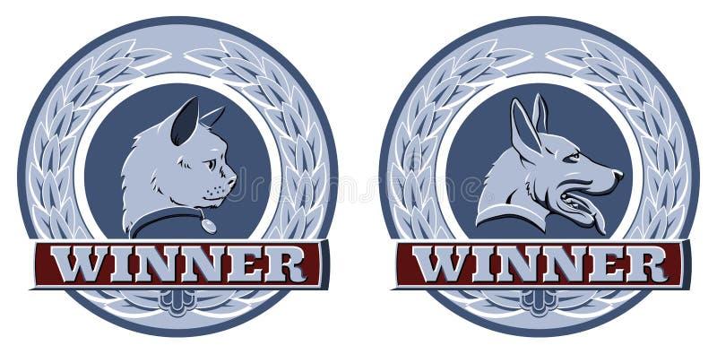 Älsklings- utmärkelsear för katt och för hund royaltyfri illustrationer