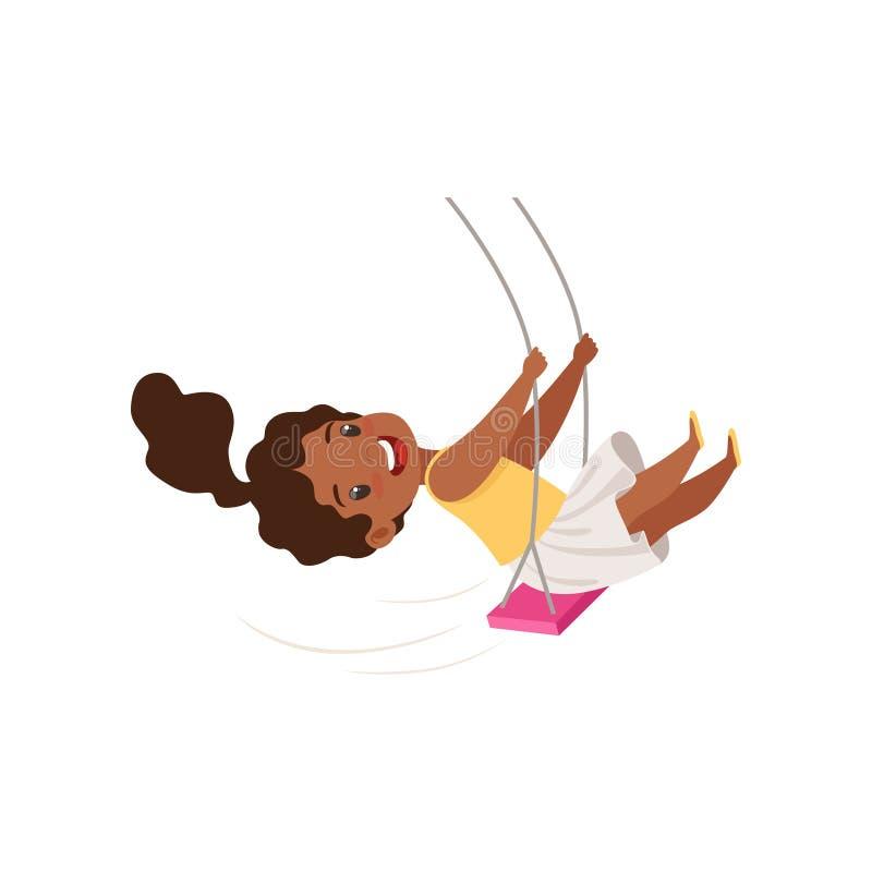 Älskvärd afrikansk amerikanflicka som svänger på en repgunga, liten unge som har gyckel på en gungavektorillustration på en vit royaltyfri illustrationer
