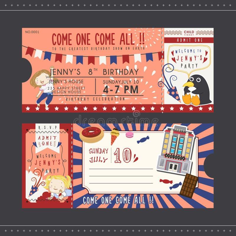 Älskvärd biljett för inbjudan för födelsedagparti royaltyfri illustrationer