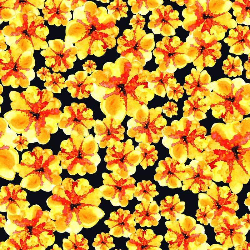 Älskvärd blom- sömlös modellillustration av den gula blomman fotografering för bildbyråer