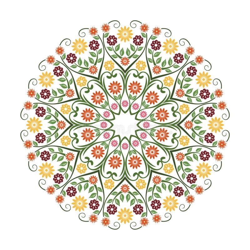Älskvärd blomma - för witncirkel för blom- prydnad design royaltyfri illustrationer