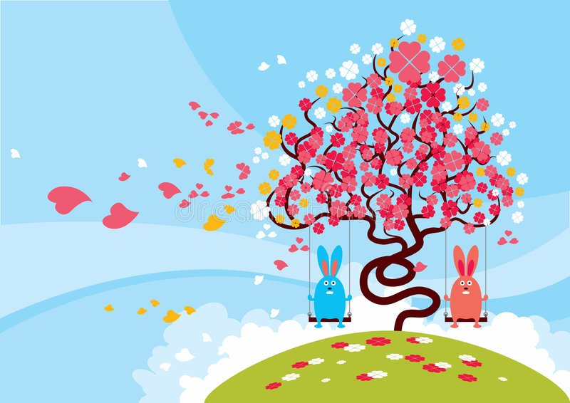 älskvärd blomning royaltyfri illustrationer