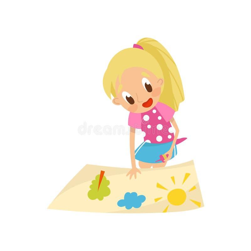 Älskvärd blond applikation för liten flickadanandepapper med den lim-, utbildnings- och barns utvecklingbegreppsvektorn vektor illustrationer