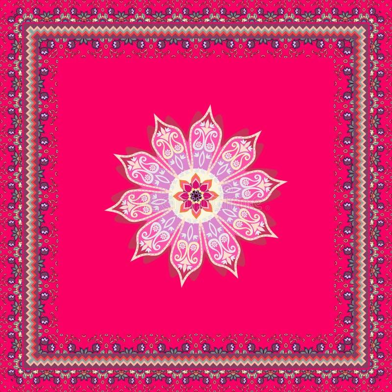 Älskvärd bordduk, pareo, fyrkantig matta eller ljus doily med mandalablomman, dekorativ ram och paisley i indisk stil stock illustrationer