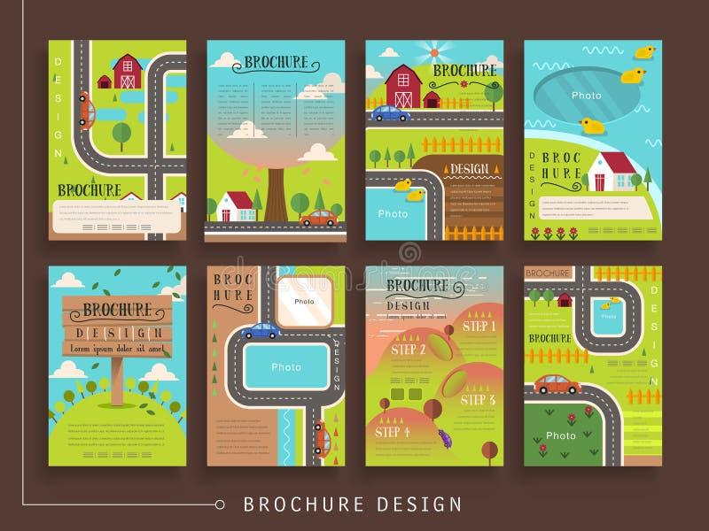 Älskvärd broschyrmall stock illustrationer