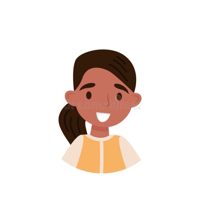 Älskvärd brunettflicka, avatar av den gulliga lilla flickan med hästsvansvektorillustrationen på en vit bakgrund vektor illustrationer