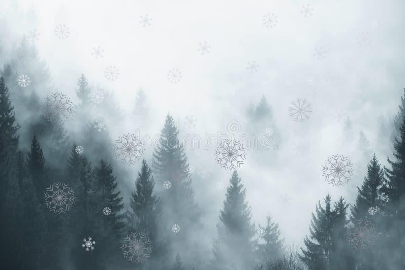 Älskvärd dimmig vinterskog med snöfall stock illustrationer