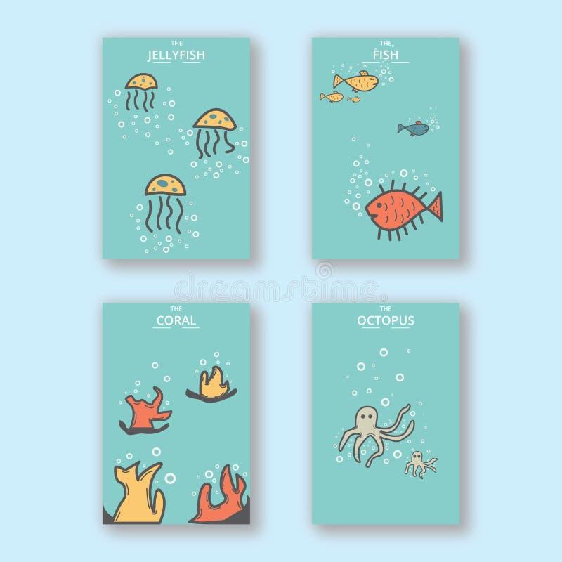 Älskvärd enkel unik djur orientering för design för räkning för havsHandrawn vykort stock illustrationer